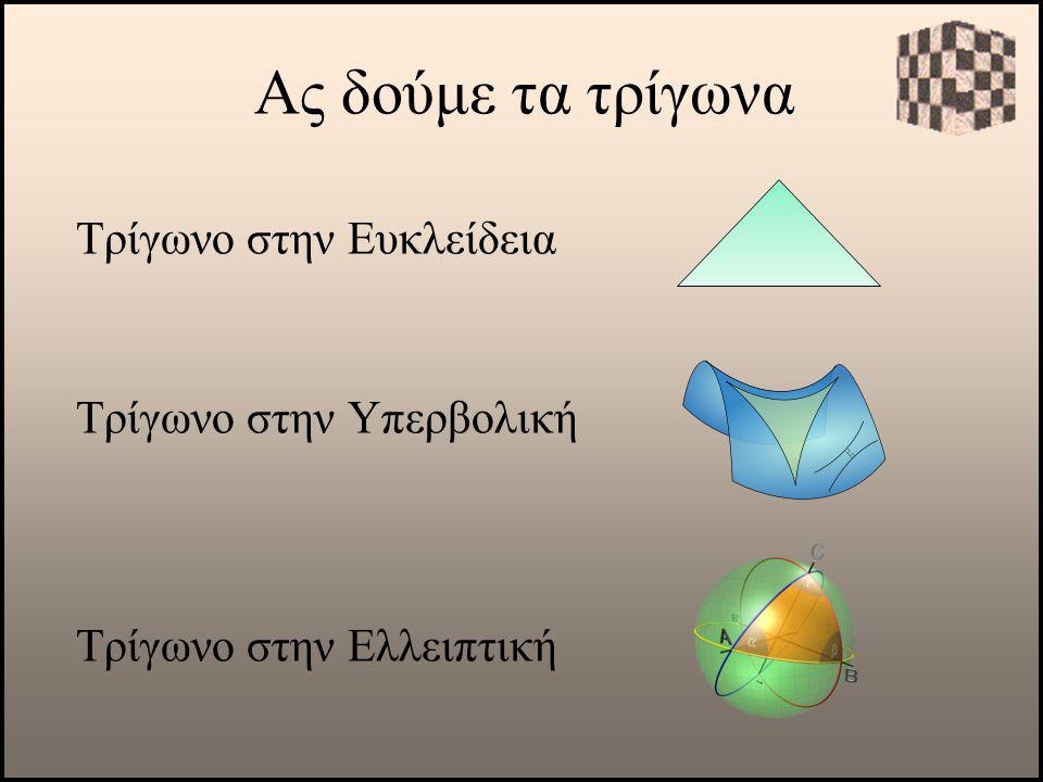 Ας δούμε τα τρίγωνα Τρίγωνο στην Ευκλείδεια Τρίγωνο στην Υπερβολική