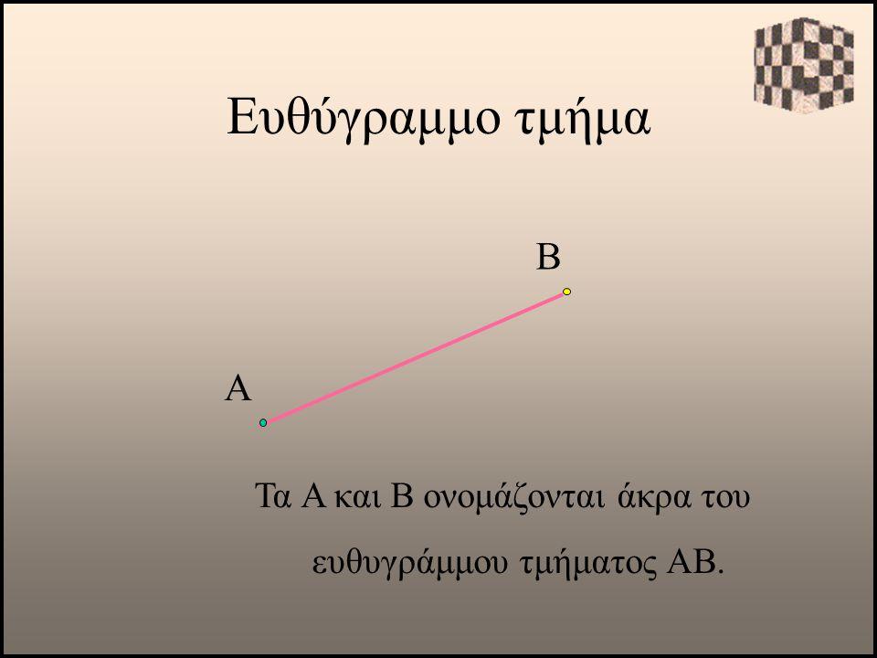Τα Α και Β ονομάζονται άκρα του ευθυγράμμου τμήματος ΑΒ.