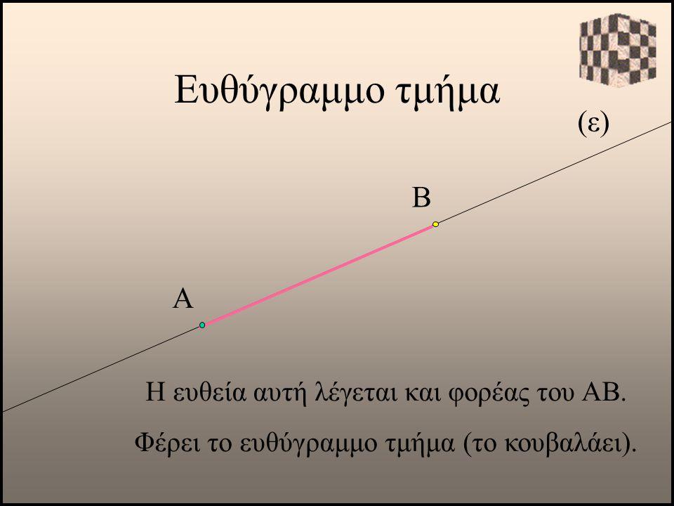 Ευθύγραμμο τμήμα (ε) Β Α Η ευθεία αυτή λέγεται και φορέας του ΑΒ.
