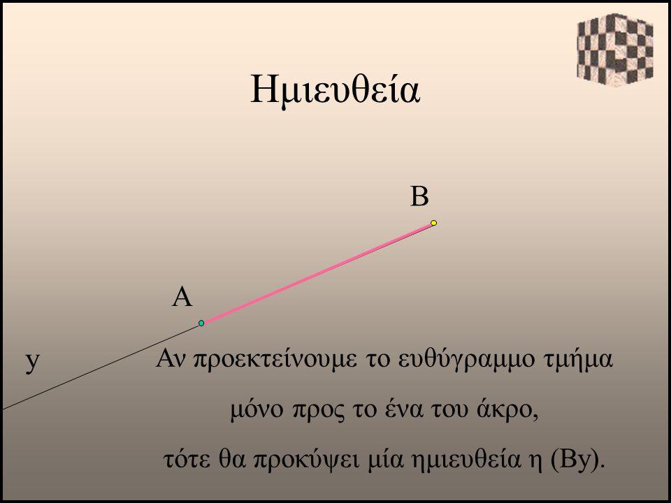 Ημιευθεία Β Α y Αν προεκτείνουμε το ευθύγραμμο τμήμα