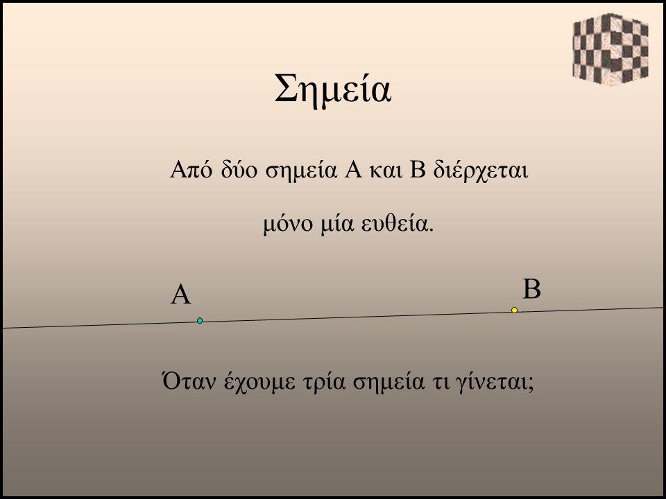 Σημεία Β Α Από δύο σημεία Α και Β διέρχεται μόνο μία ευθεία.