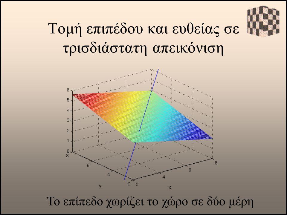 Τομή επιπέδου και ευθείας σε τρισδιάστατη απεικόνιση