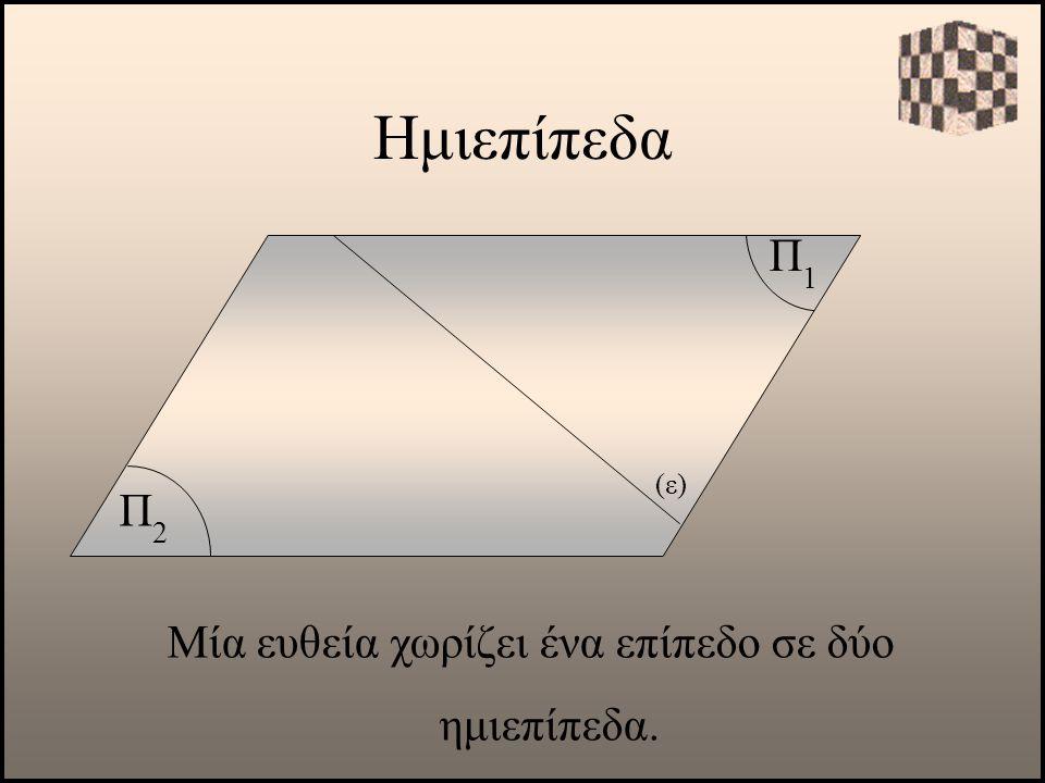 Μία ευθεία χωρίζει ένα επίπεδο σε δύο ημιεπίπεδα.