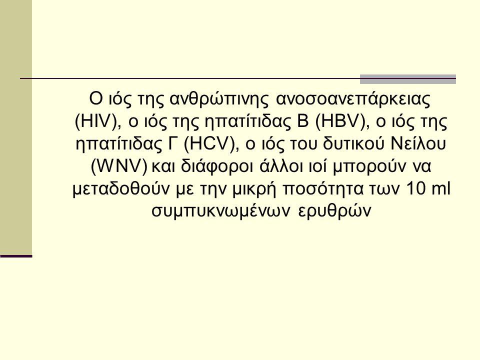 Ο ιός της ανθρώπινης ανοσοανεπάρκειας (HIV), ο ιός της ηπατίτιδας Β (HBV), ο ιός της ηπατίτιδας Γ (HCV), ο ιός του δυτικού Νείλου (WNV) και διάφοροι άλλοι ιοί μπορούν να μεταδοθούν με την μικρή ποσότητα των 10 ml συμπυκνωμένων ερυθρών
