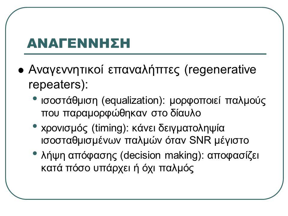 ΑΝΑΓΕΝΝΗΣΗ Αναγεννητικοί επαναλήπτες (regenerative repeaters):