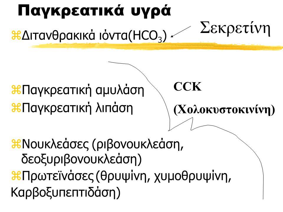 Σεκρετίνη Παγκρεατικά υγρά Διτανθρακικά ιόντα(HCO3)