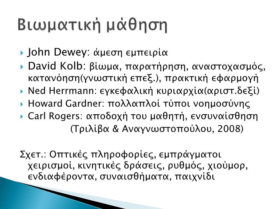 Βιωματική μάθηση John Dewey: άμεση εμπειρία