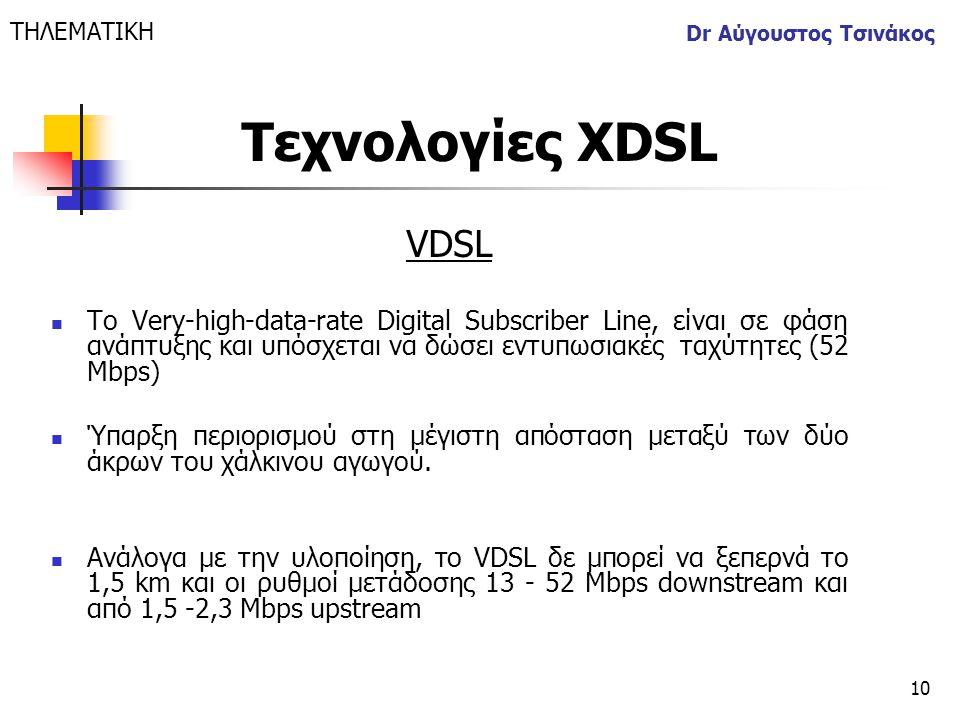 ΤΗΛΕΜΑΤΙΚΗ Dr Αύγουστος Τσινάκος. Τεχνολογίες XDSL. VDSL.