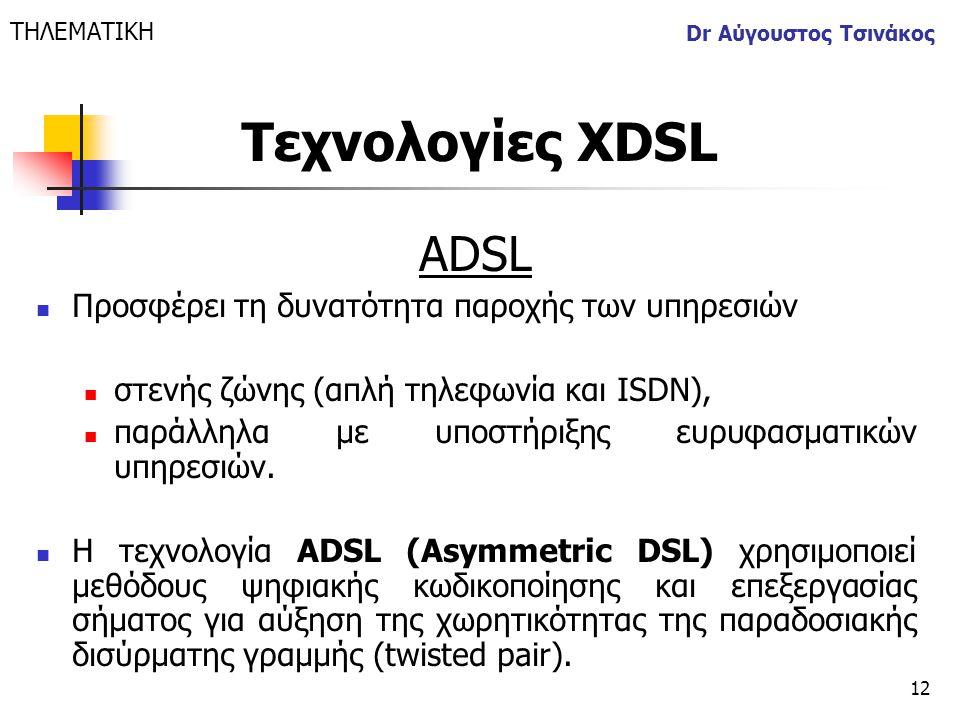 Τεχνολογίες XDSL ADSL Προσφέρει τη δυνατότητα παροχής των υπηρεσιών