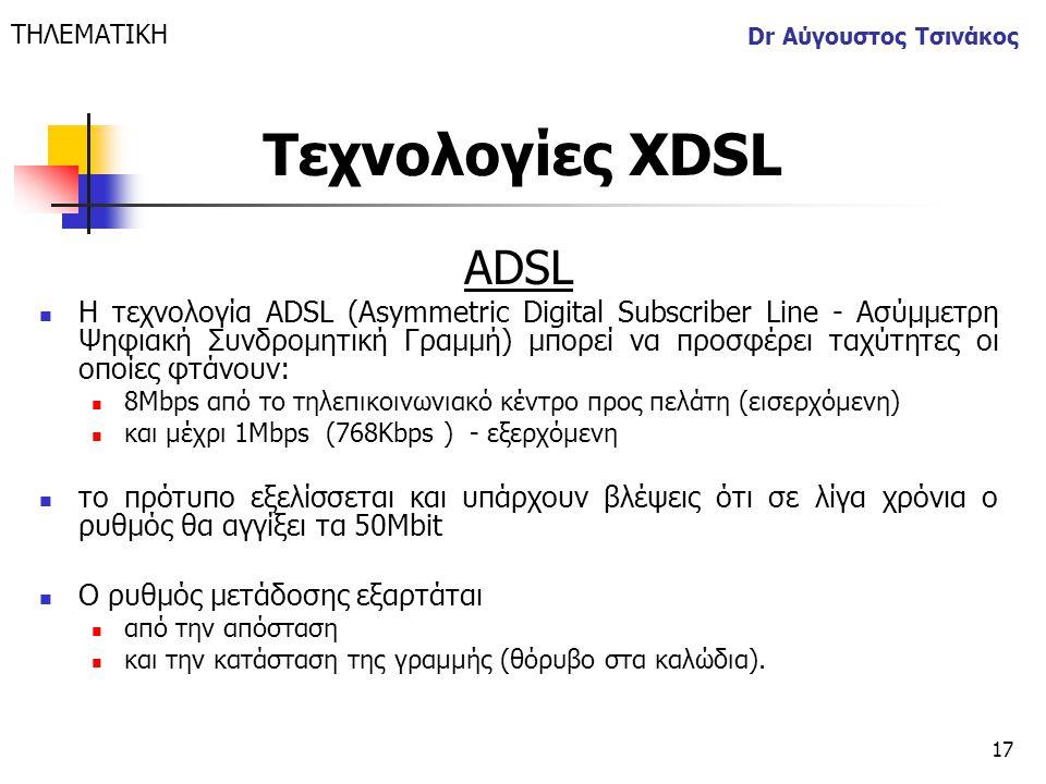 ΤΗΛΕΜΑΤΙΚΗ Dr Αύγουστος Τσινάκος. Τεχνολογίες XDSL. ΑDSL.
