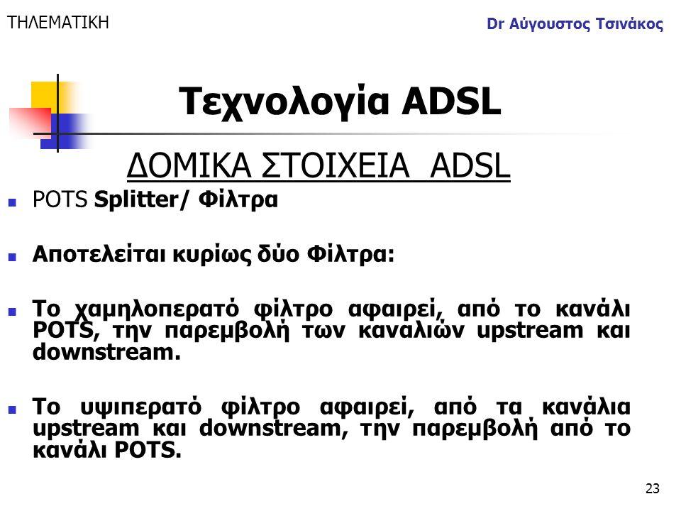 Τεχνολογία ΑDSL ΔΟΜΙΚΑ ΣΤΟΙΧΕΙΑ ΑDSL POTS Splitter/ Φίλτρα