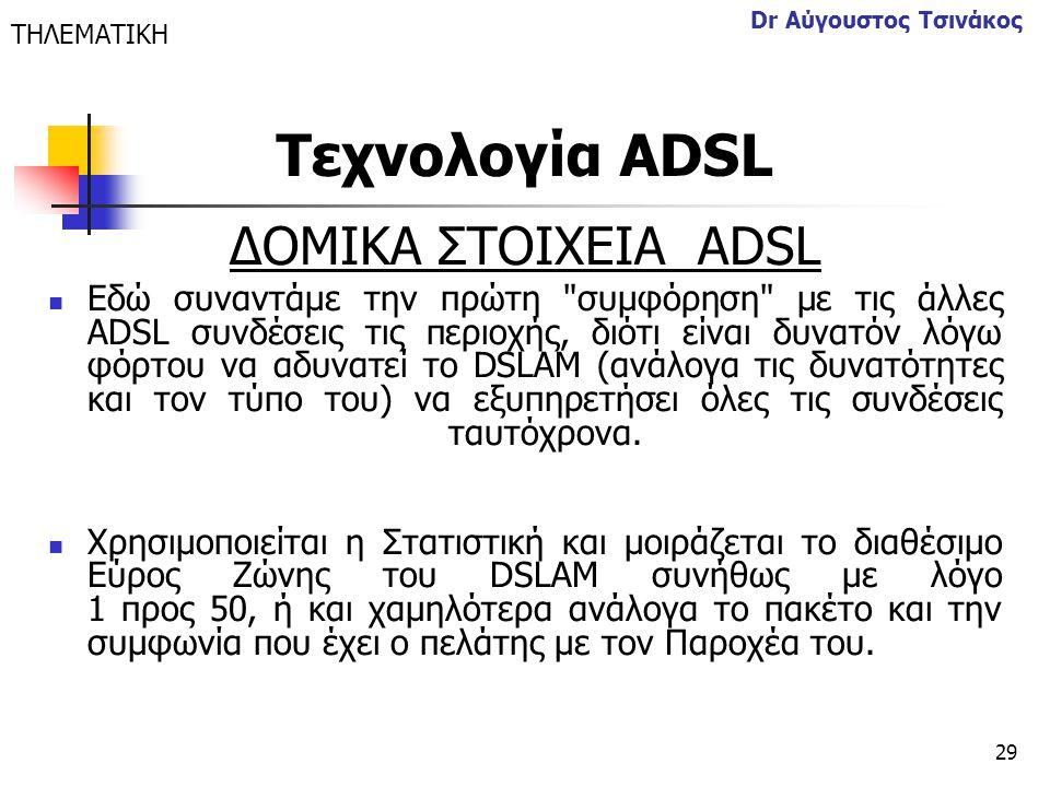 Τεχνολογία ΑDSL ΔΟΜΙΚΑ ΣΤΟΙΧΕΙΑ ΑDSL