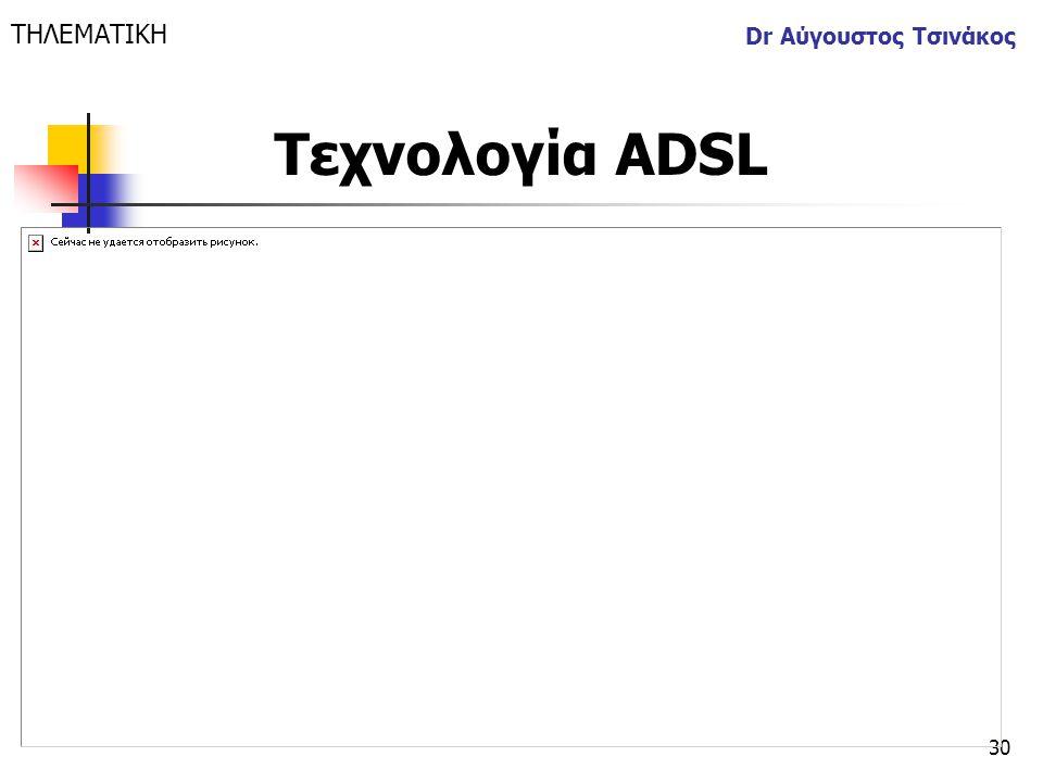 ΤΗΛΕΜΑΤΙΚΗ Dr Αύγουστος Τσινάκος Τεχνολογία ΑDSL