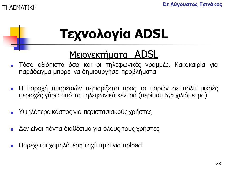 Τεχνολογία ΑDSL Μειονεκτήματα ΑDSL