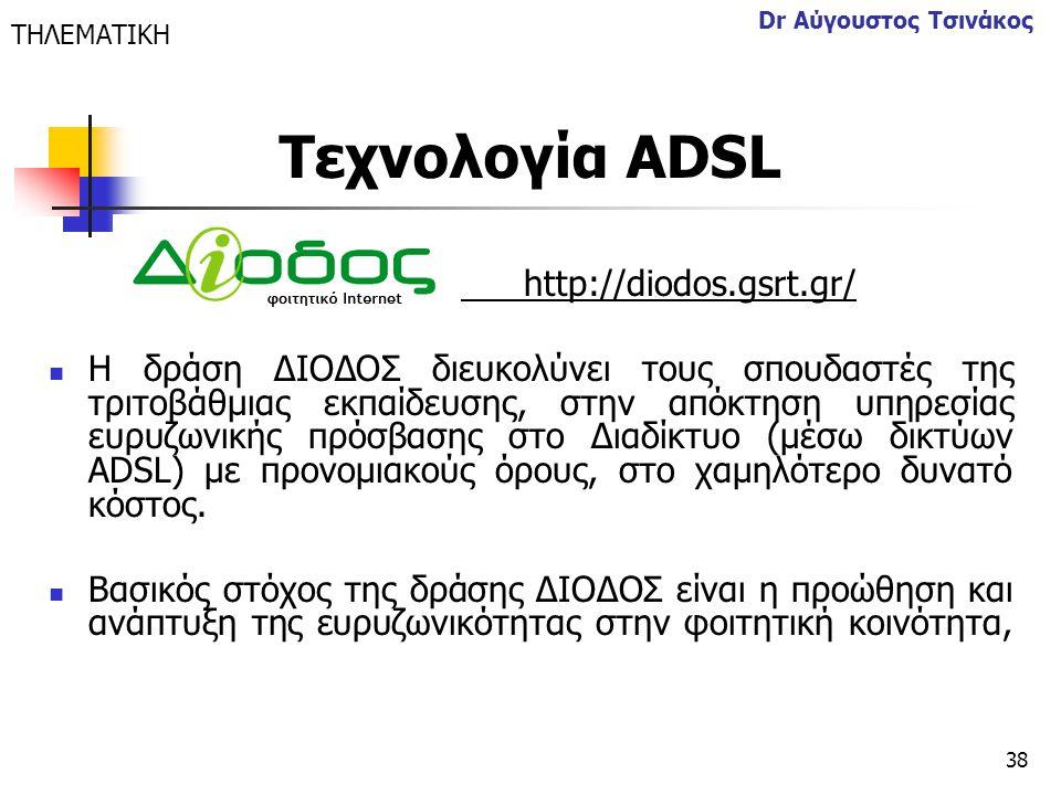 Τεχνολογία ΑDSL http://diodos.gsrt.gr/