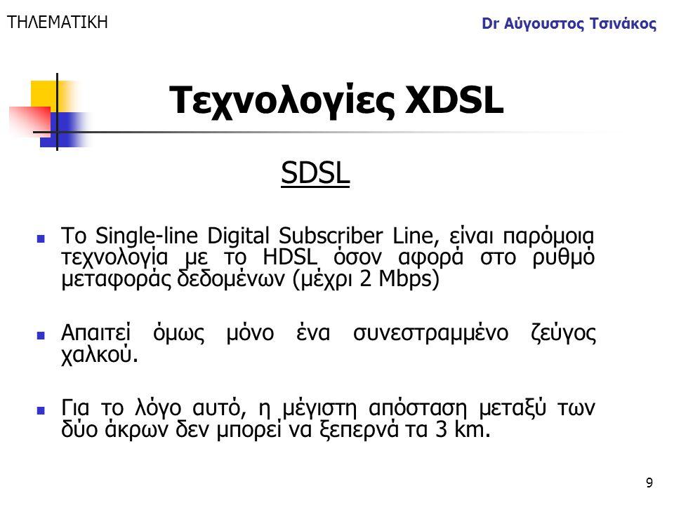 ΤΗΛΕΜΑΤΙΚΗ Dr Αύγουστος Τσινάκος. Τεχνολογίες XDSL. SDSL.