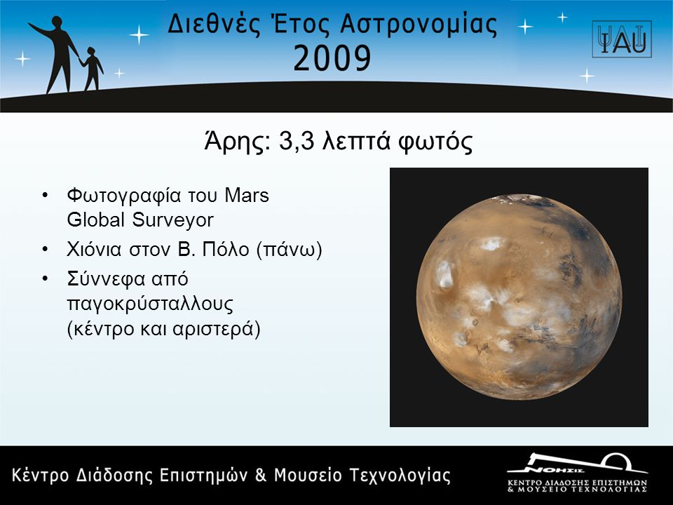 Άρης: 3,3 λεπτά φωτός Φωτογραφία του Mars Global Surveyor