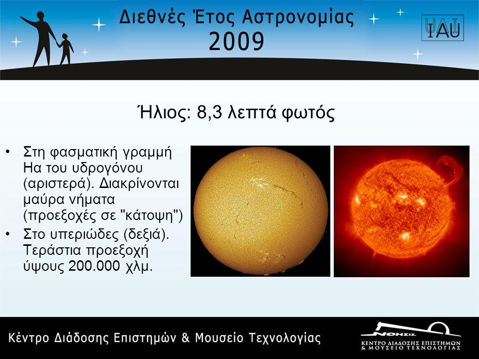 Ήλιος: 8,3 λεπτά φωτός Στη φασματική γραμμή Ηα του υδρογόνου (αριστερά). Διακρίνονται μαύρα νήματα (προεξοχές σε κάτοψη )