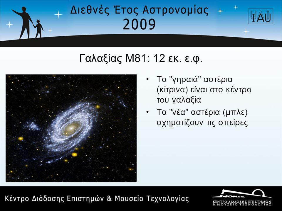 Γαλαξίας Μ81: 12 εκ. ε.φ. Τα γηραιά αστέρια (κίτρινα) είναι στο κέντρο του γαλαξία.