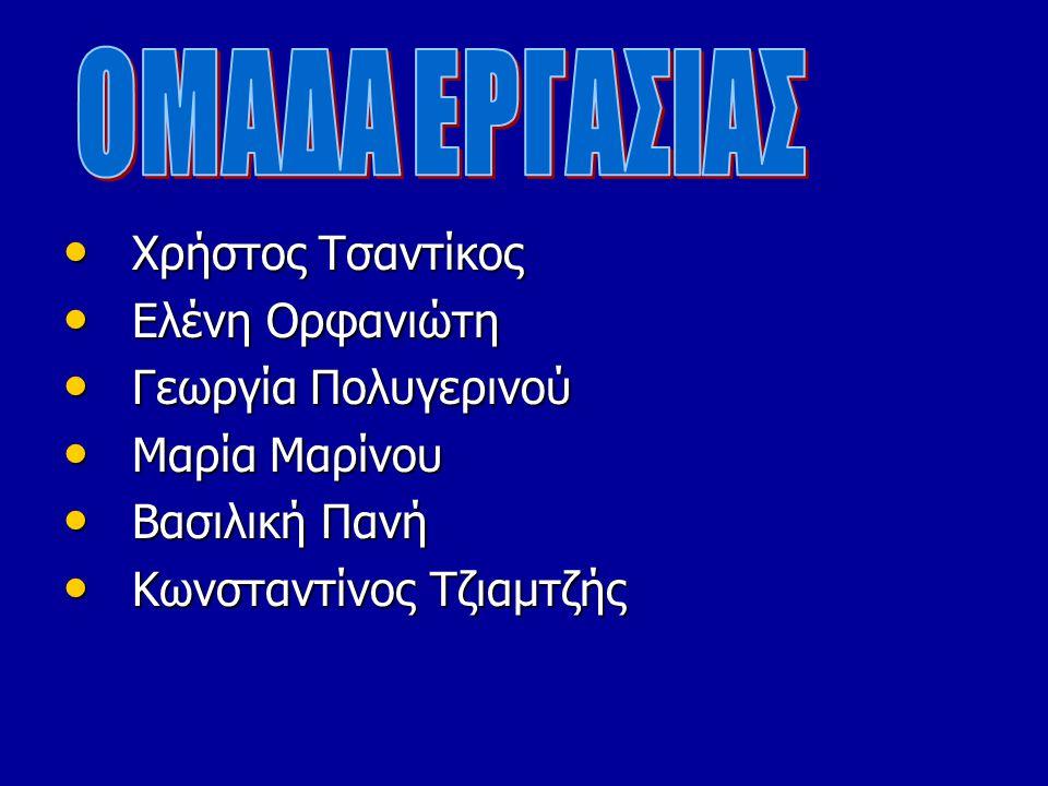 ΟΜΑΔΑ ΕΡΓΑΣΙΑΣ Χρήστος Τσαντίκος Ελένη Ορφανιώτη Γεωργία Πολυγερινού