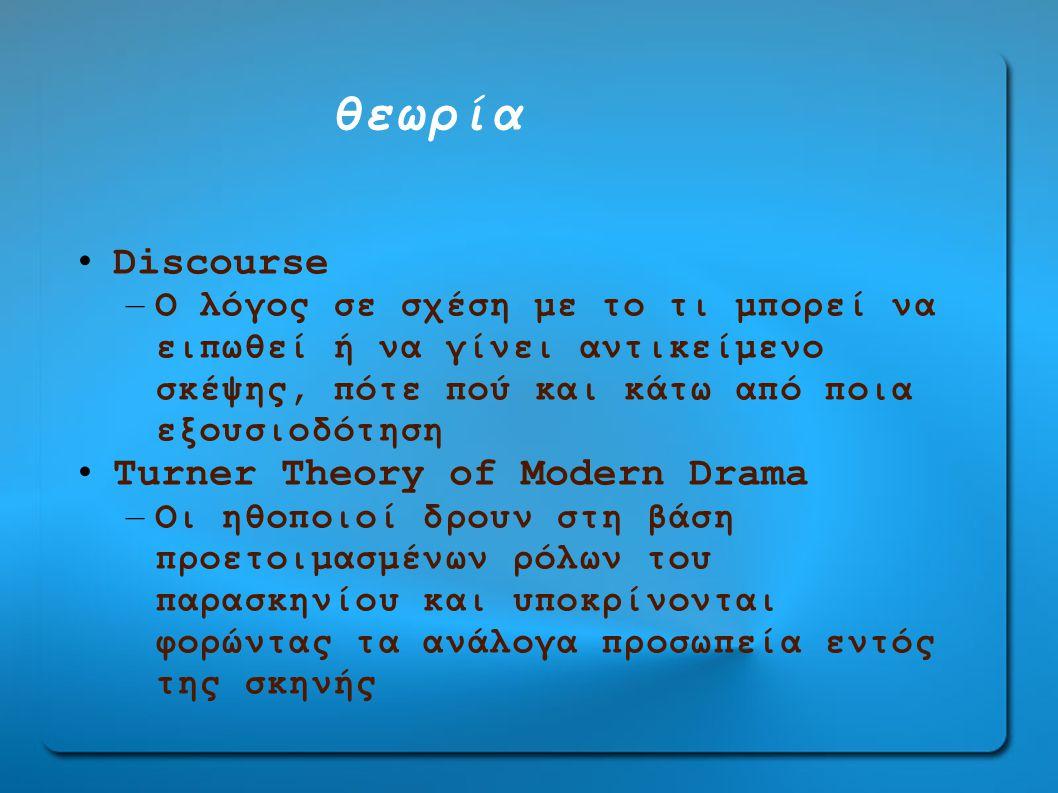 θεωρία Discourse Turner Theory οf Modern Drama