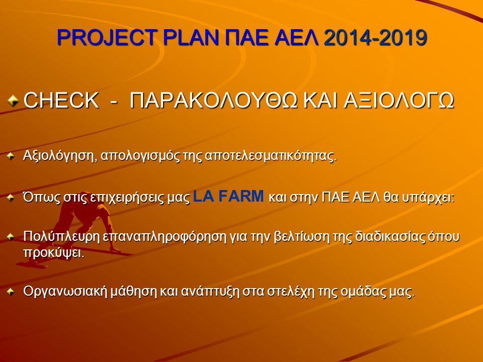 PROJECT PLAN ΠΑΕ ΑΕΛ 2014-2019 CHECK - ΠΑΡΑΚΟΛΟΥΘΩ ΚΑΙ ΑΞΙΟΛΟΓΩ