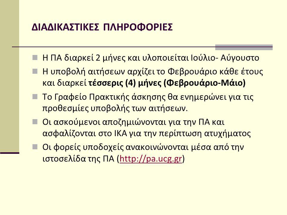 ΔΙΑΔΙΚΑΣΤΙΚΕΣ ΠΛΗΡΟΦΟΡΙΕΣ