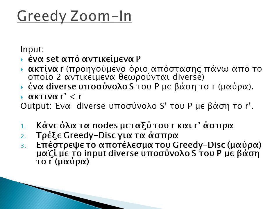 Greedy Zoom-In Input: ένα set από αντικείμενα P