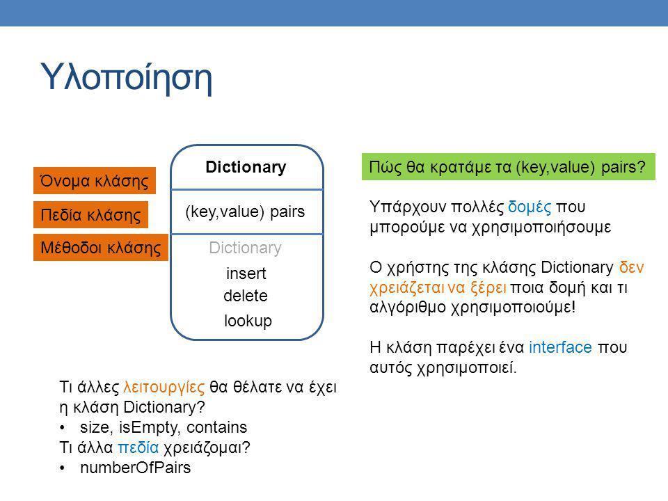 Υλοποίηση Dictionary Πώς θα κρατάμε τα (key,value) pairs Όνομα κλάσης