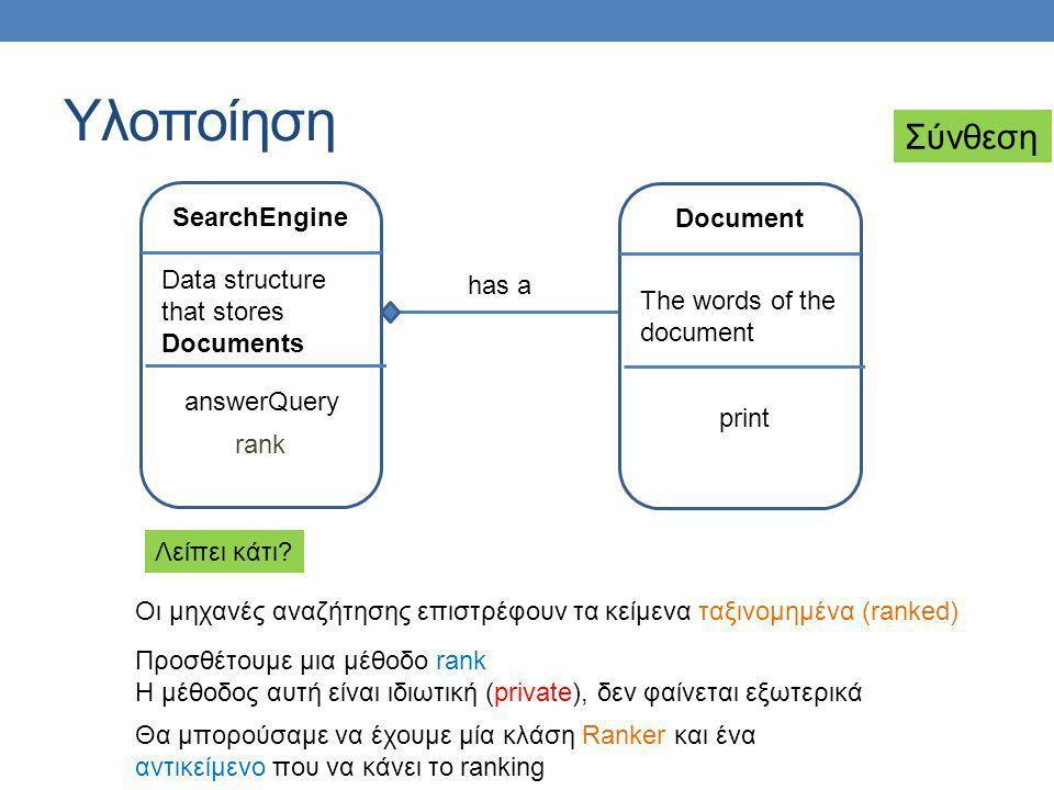 Υλοποίηση Σύνθεση SearchEngine Document