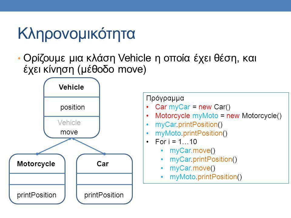 Κληρονομικότητα Ορίζουμε μια κλάση Vehicle η οποία έχει θέση, και έχει κίνηση (μέθοδο move) Vehicle.