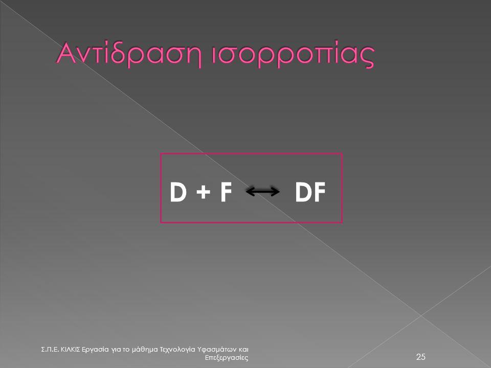 Αντίδραση ισορροπίας D + F DF