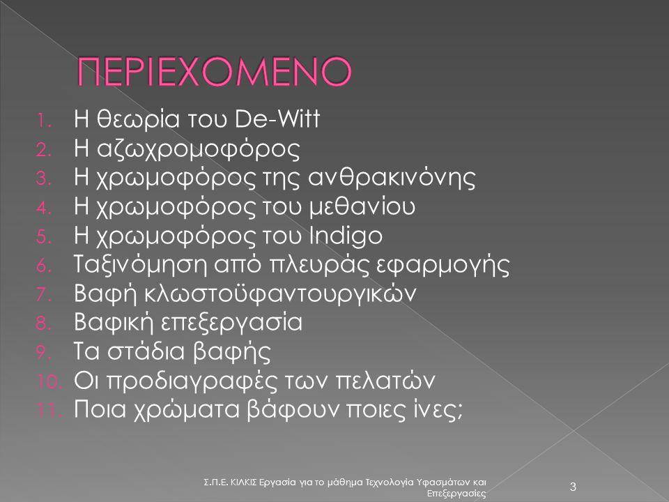 ΠΕΡΙΕΧΟΜΕΝΟ Η θεωρία του De-Witt Η αζωχρομοφόρος