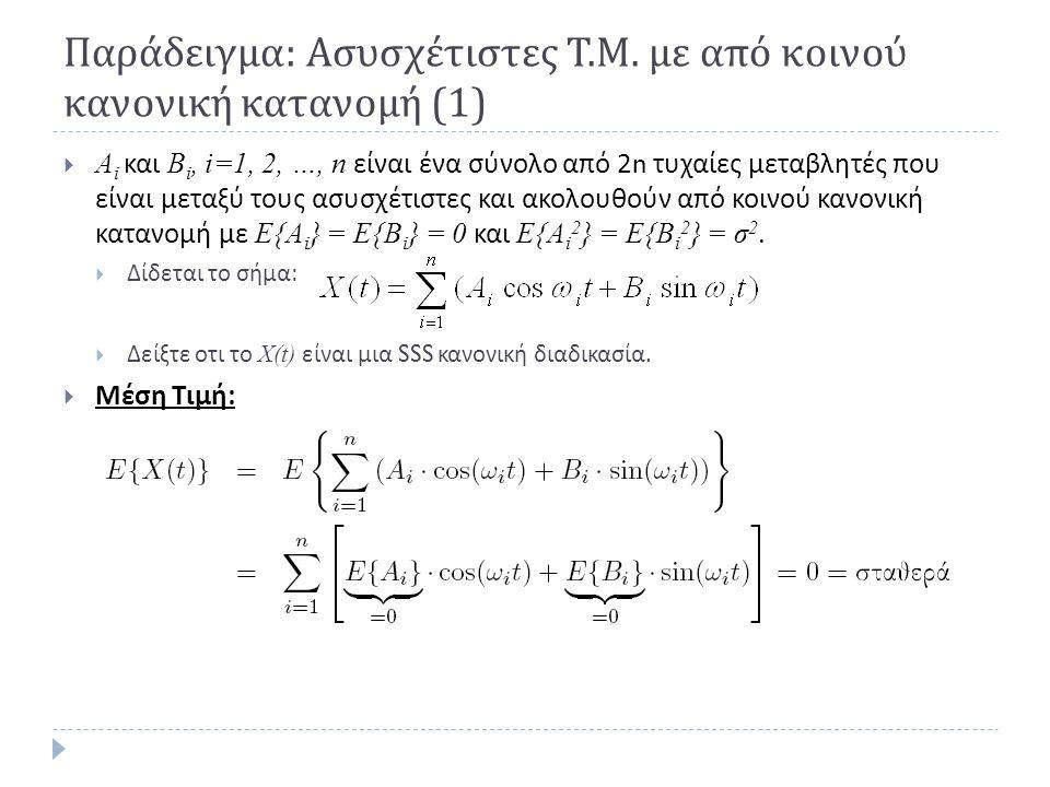 Παράδειγμα: Ασυσχέτιστες Τ.Μ. με από κοινού κανονική κατανομή (1)