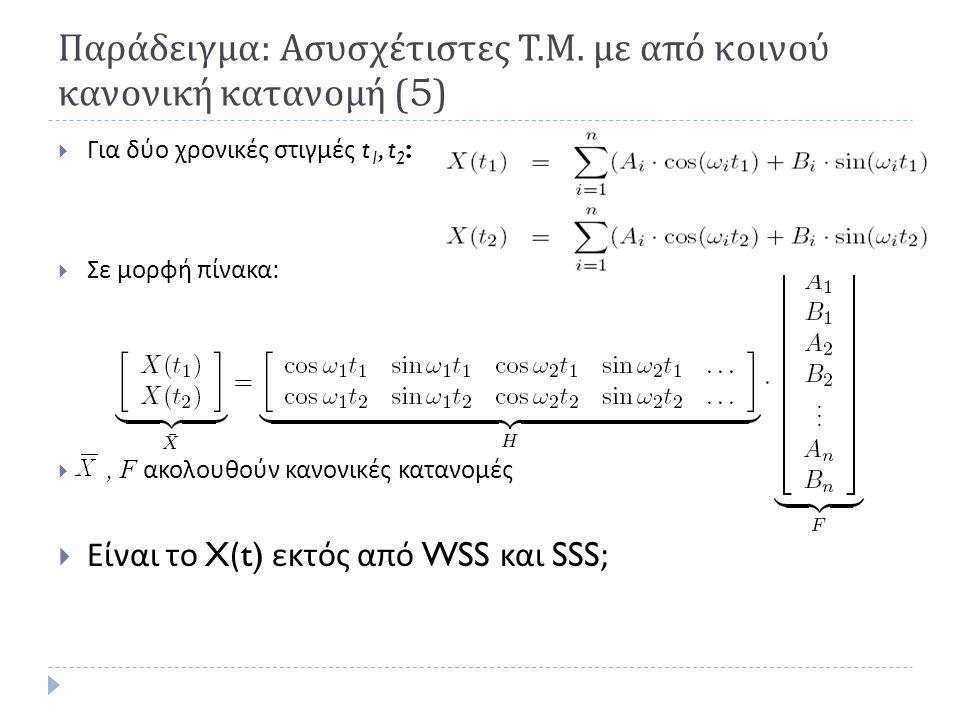 Παράδειγμα: Ασυσχέτιστες Τ.Μ. με από κοινού κανονική κατανομή (5)