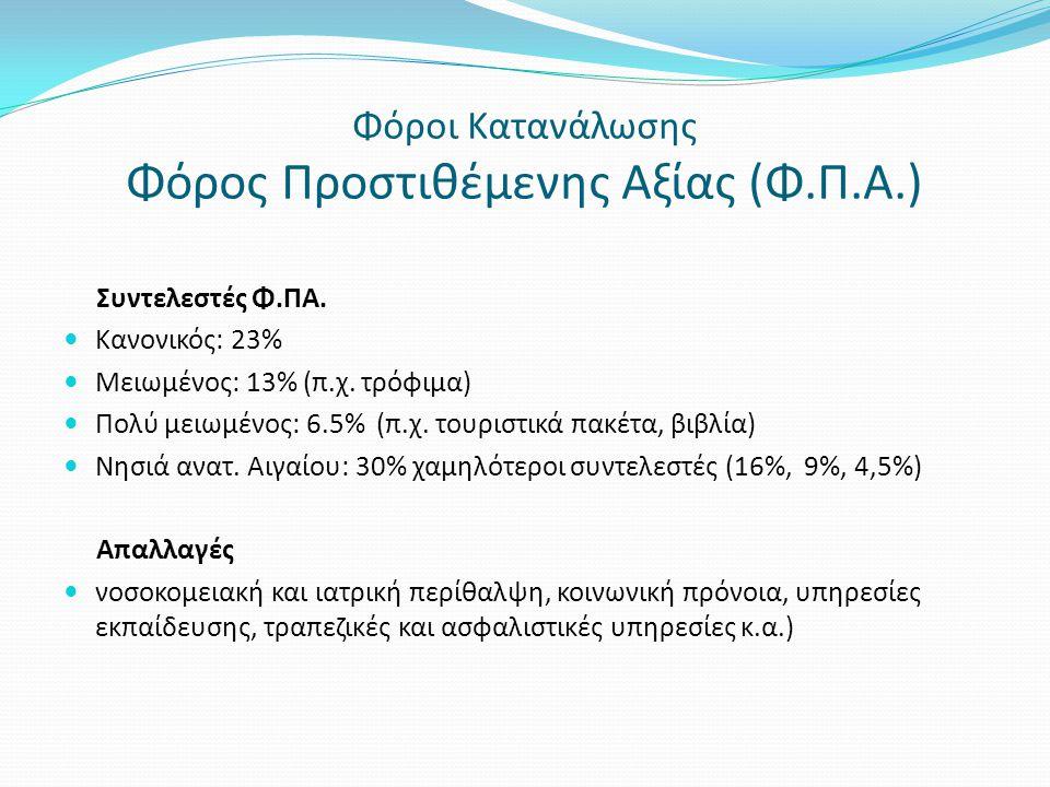 Φόροι Κατανάλωσης Φόρος Προστιθέμενης Αξίας (Φ.Π.Α.)