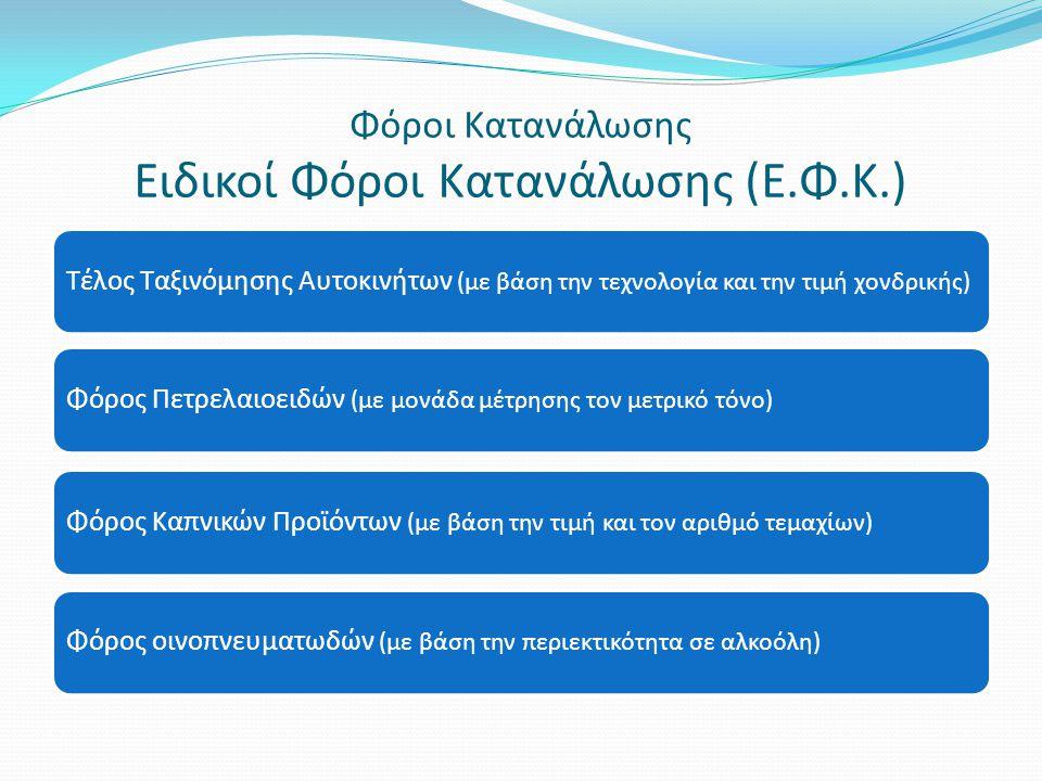 Φόροι Κατανάλωσης Ειδικοί Φόροι Κατανάλωσης (Ε.Φ.Κ.)