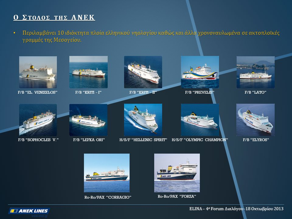 Ο Στολοσ τησ ΑΝΕΚ Περιλαμβάνει 10 ιδιόκτητα πλοία ελληνικού νηολογίου καθώς και άλλα χρονοναυλωμένα σε ακτοπλοϊκές γραμμές της Μεσογείου.