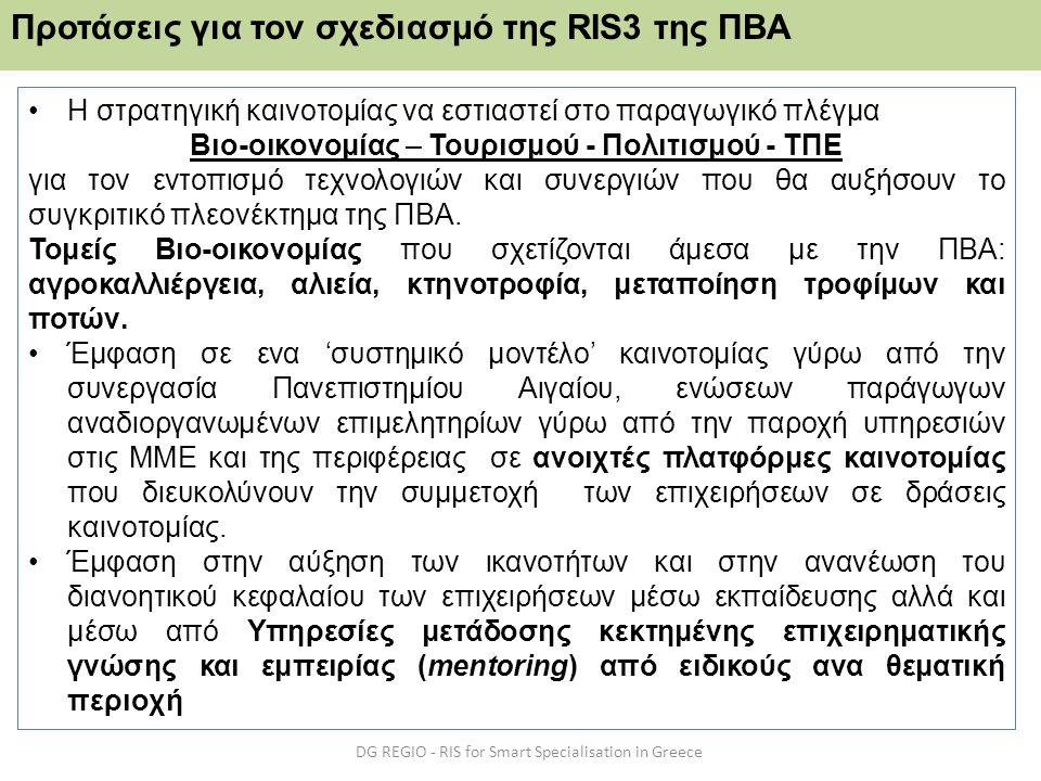Προτάσεις για τον σχεδιασμό της RIS3 της ΠΒΑ