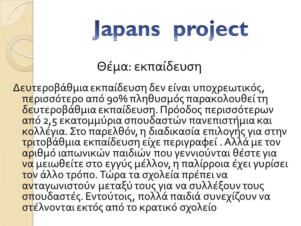 Japans project Θέμα: εκπαίδευση