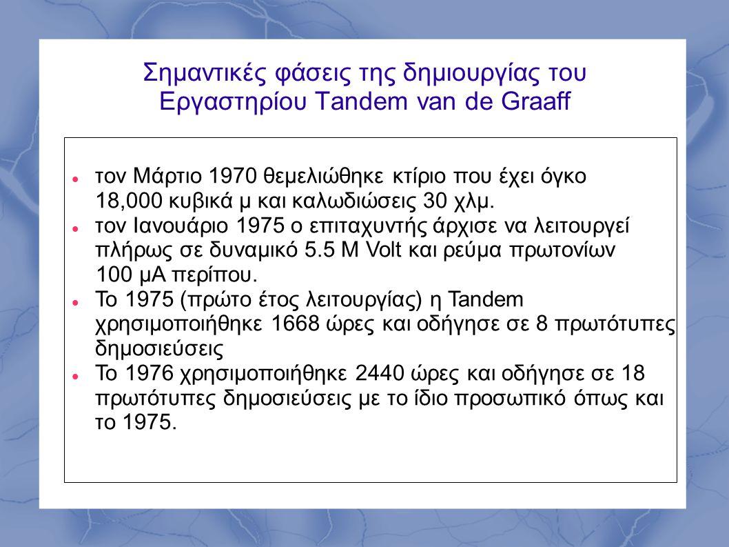 Σημαντικές φάσεις της δημιουργίας του Εργαστηρίου Tandem van de Graaff