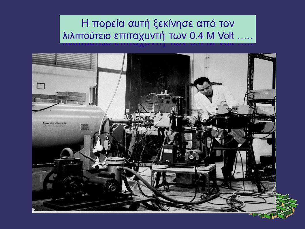 Η πορεία αυτή ξεκίνησε από τον λιλιπούτειο επιταχυντή των 0.4 Μ Volt …..