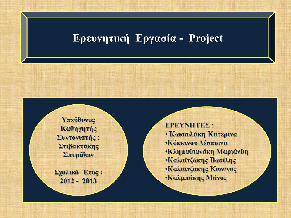 Ερευνητική Εργασία - Project