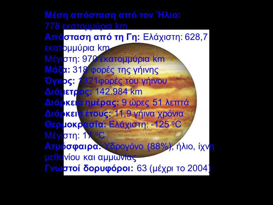 Μέση απόσταση από τον Ήλιο: 778 εκατομμύρια km