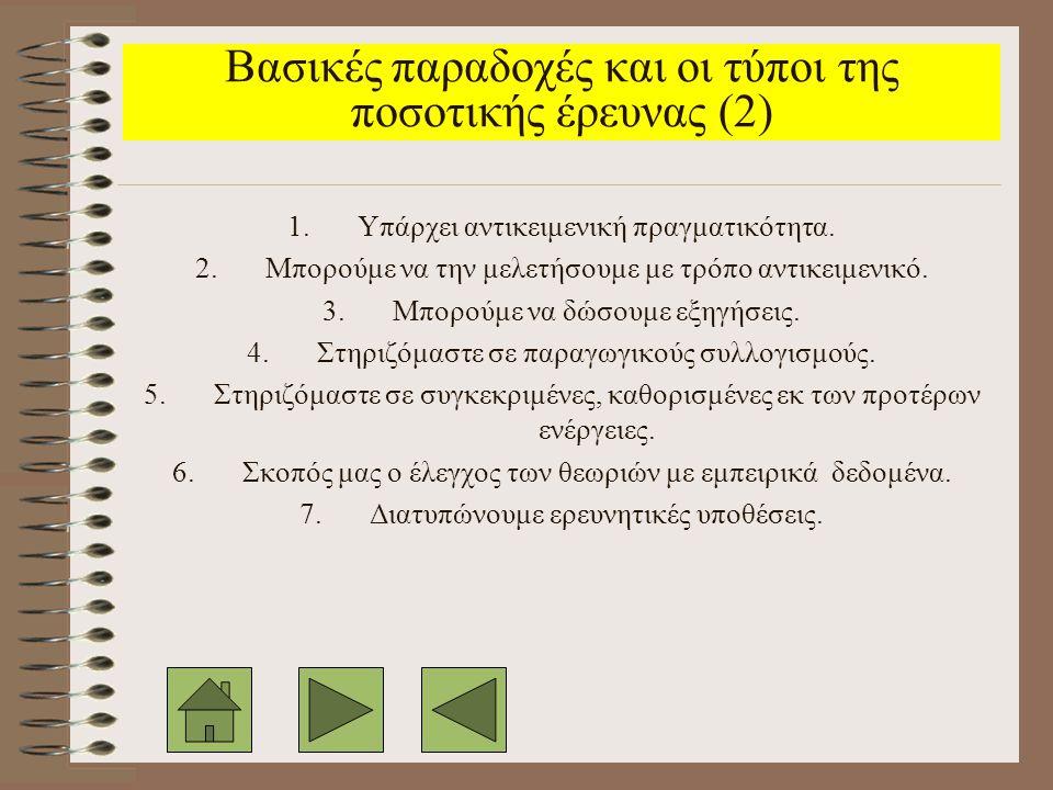 Βασικές παραδοχές και οι τύποι της ποσοτικής έρευνας (2)