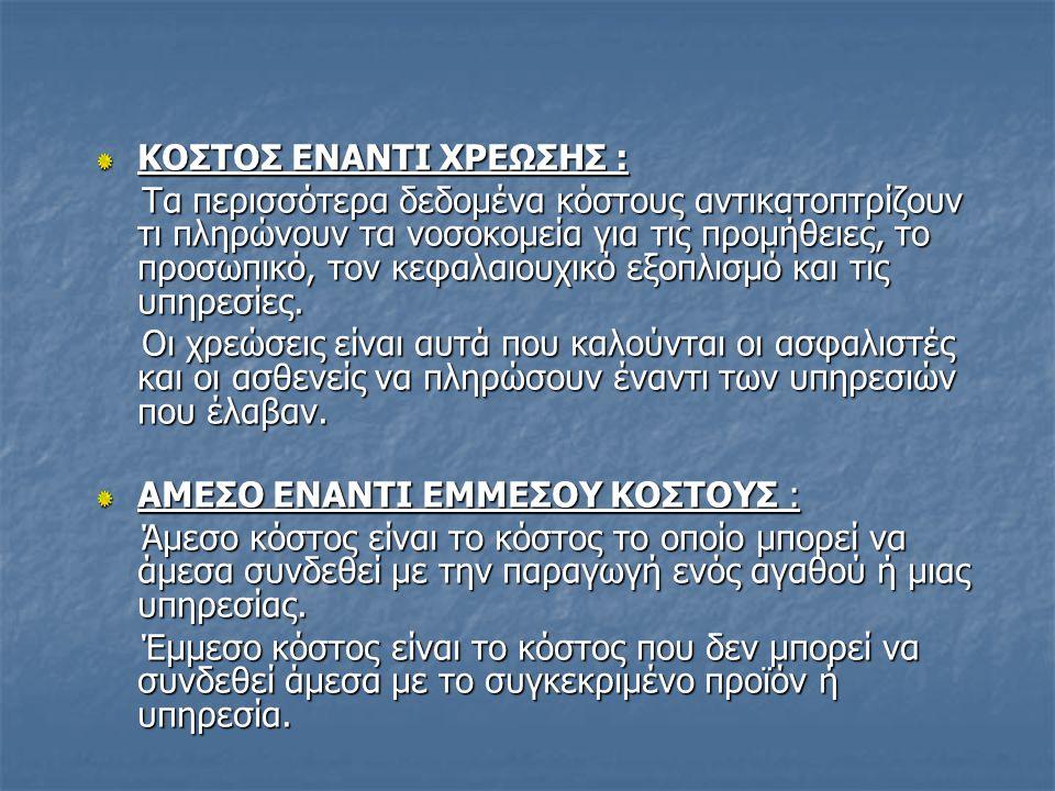 ΚΟΣΤΟΣ ΕΝΑΝΤΙ ΧΡΕΩΣΗΣ :