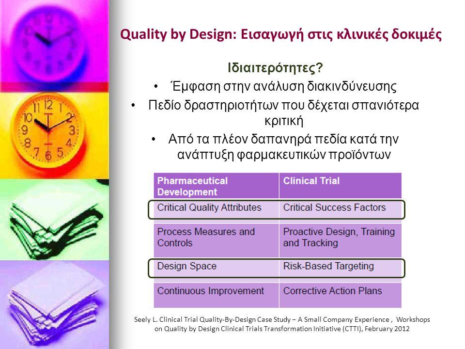 Quality by Design: Εισαγωγή στις κλινικές δοκιμές