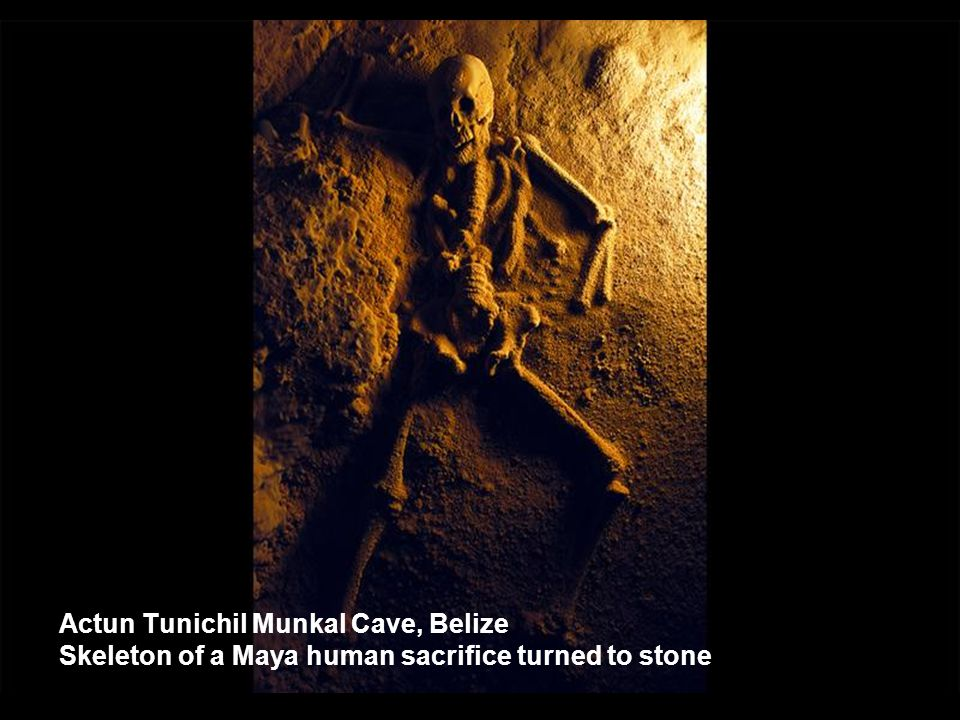Actun Tunichil Munkal Cave, Belize Skeleton of a Maya human sacrifice turned to stone