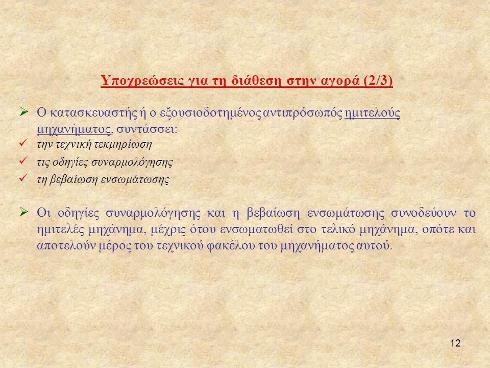 Υποχρεώσεις για τη διάθεση στην αγορά (2/3)