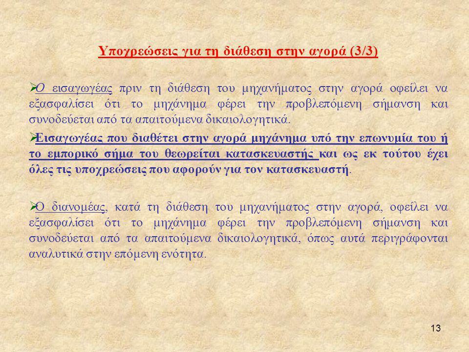 Υποχρεώσεις για τη διάθεση στην αγορά (3/3)